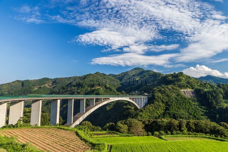 Paisagem do campo do arroz e ponte do arco em Takachiho, Miyazaki, Japão fotos de stock