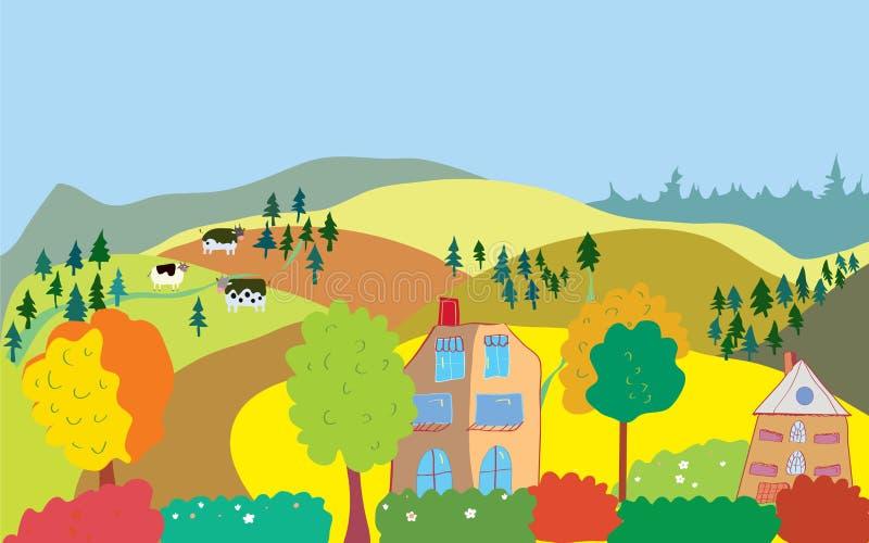 Paisagem do campo do outono com árvores, casas, vacas ilustração royalty free