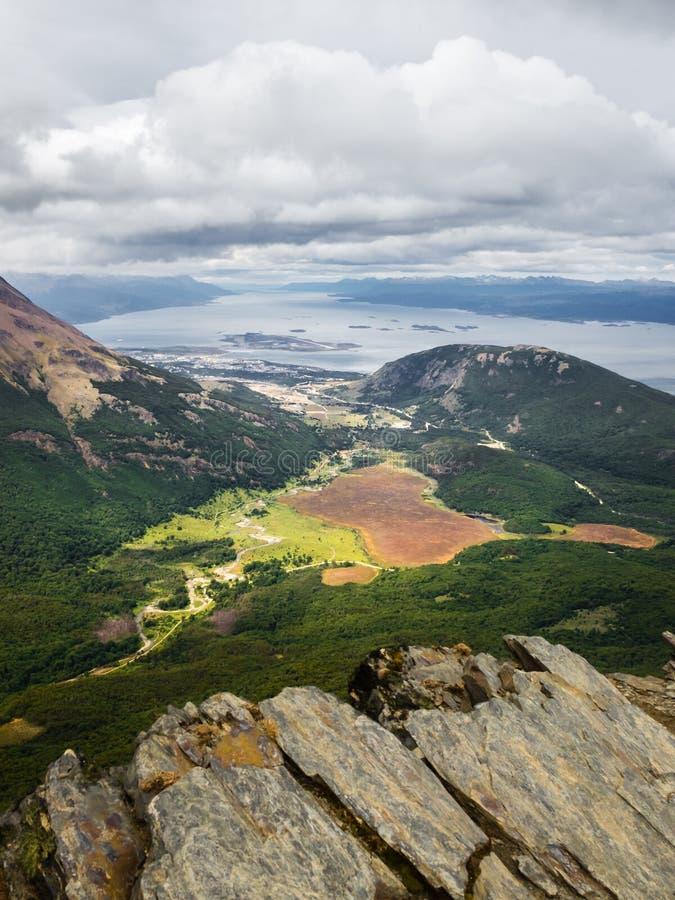 Paisagem do canal do lebreiro, perto da cidade de Ushuaia em Argentina Tierra del Fuego Island, Patagonia imagens de stock royalty free