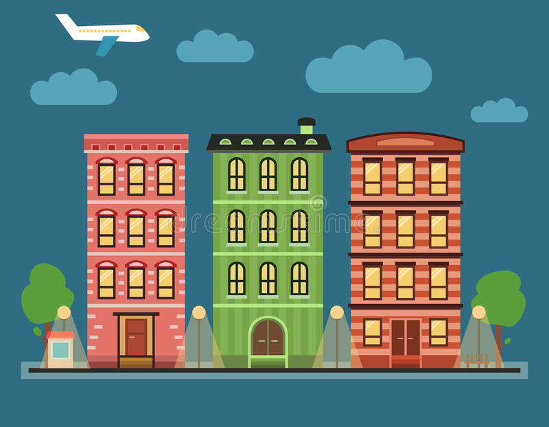 Paisagem do centro da cidade colorida bonita com vários condomínios, fotos de stock