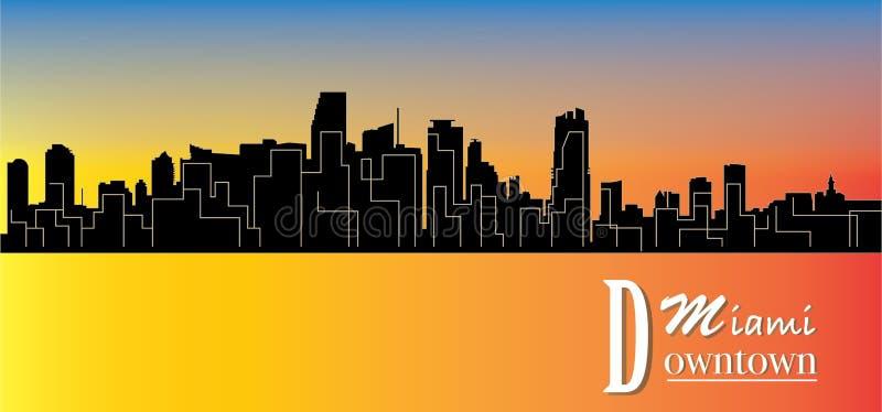 Paisagem do centro da ilustração-cidade de Miami - vetor ilustração do vetor