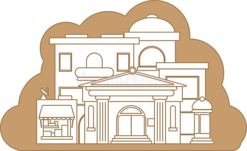 Paisagem do centro Linha fina Molde da paisagem da cidade da arquitetura do panorama Ilustração isolada do esboço ilustração do vetor