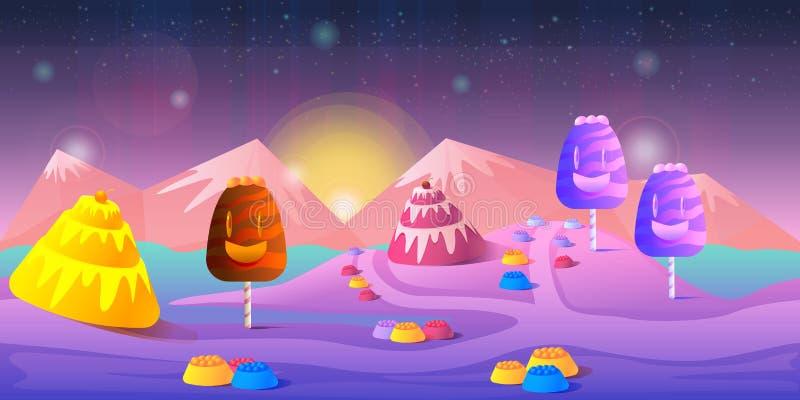 Paisagem do conto de fadas dos desenhos animados Ilustração da terra dos doces para o projeto de jogo ilustração do vetor