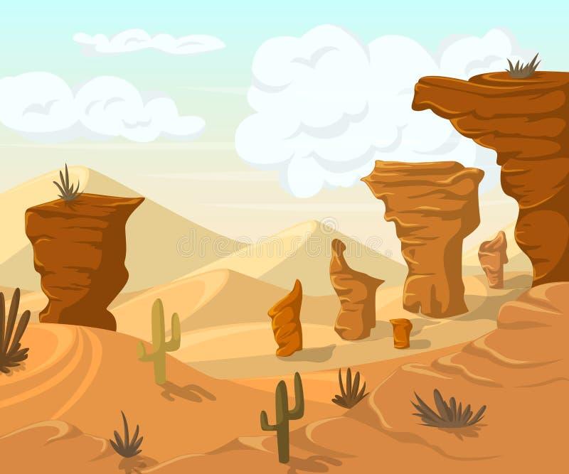 Paisagem do deserto com cactos e montanhas ilustração stock