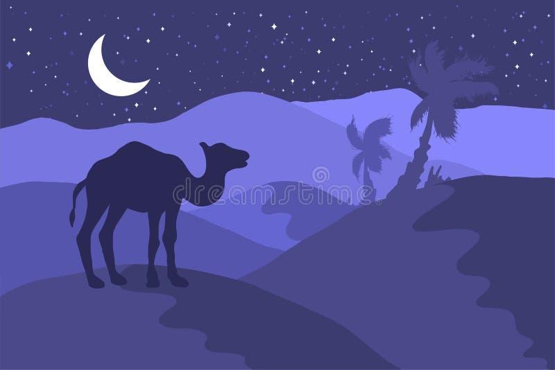 Paisagem do deserto com ilustração lisa da silhueta do camelo ilustração do vetor