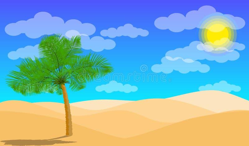 Paisagem do deserto com o deserto da palma e da areia Camadas de papel como o projeto do deserto ilustração do vetor