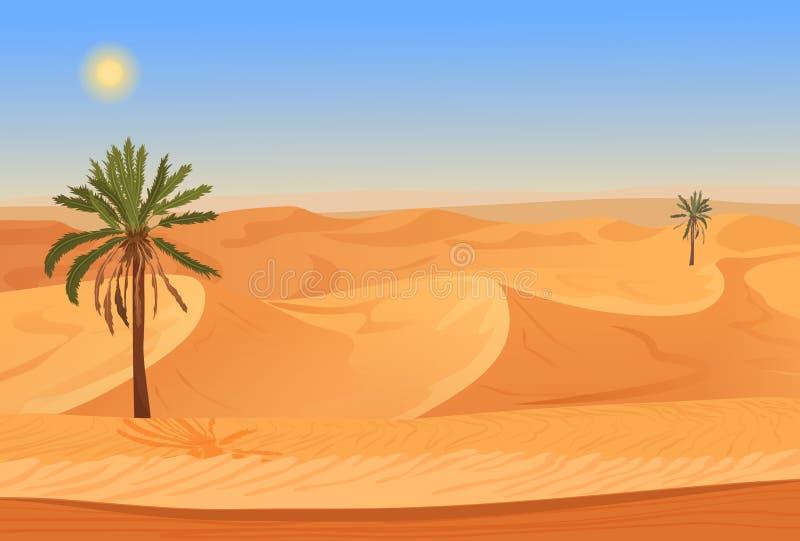 Paisagem do deserto da areia da natureza dos desenhos animados com palmas, ervas e montanhas ilustração stock