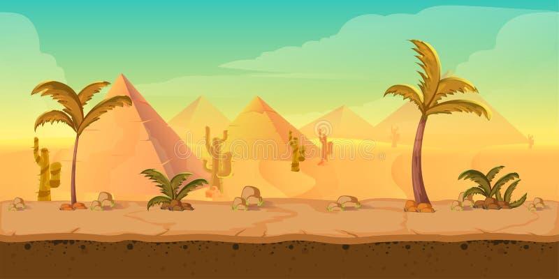 Paisagem do deserto da areia da natureza dos desenhos animados com palmas, ervas e montanhas Ilustração do estilo do jogo do veto