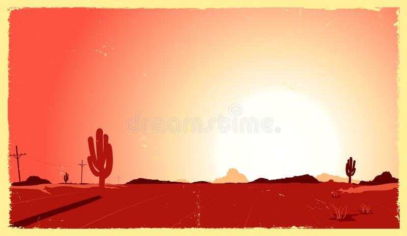 Paisagem do deserto de Grunge ilustração royalty free