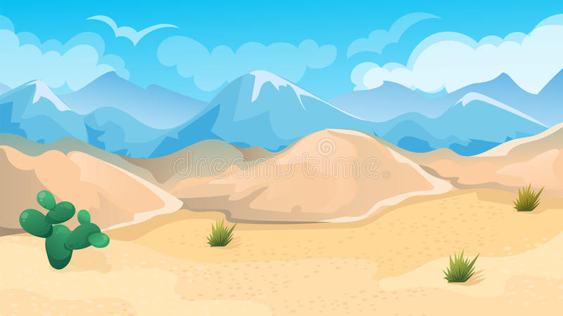 Paisagem do deserto e dos montes ilustração royalty free