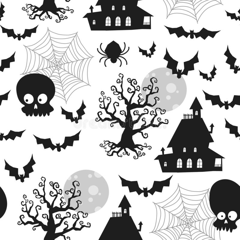 Paisagem do Dia das Bruxas com uma casa, cores clássicas preto, padrão sem costura, vetor ilustração stock