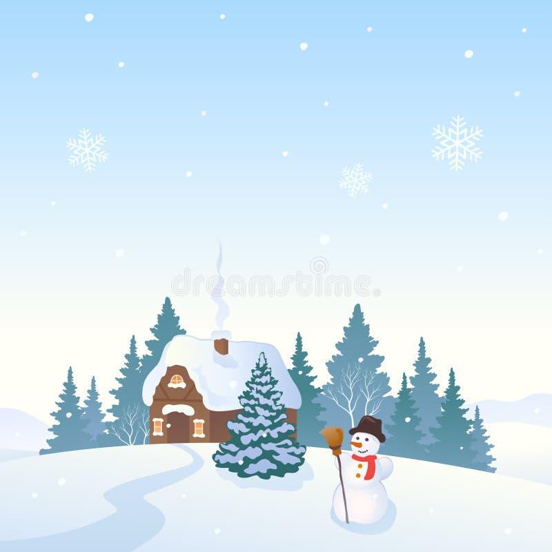 Paisagem do dia de inverno com uma casa ilustração do vetor