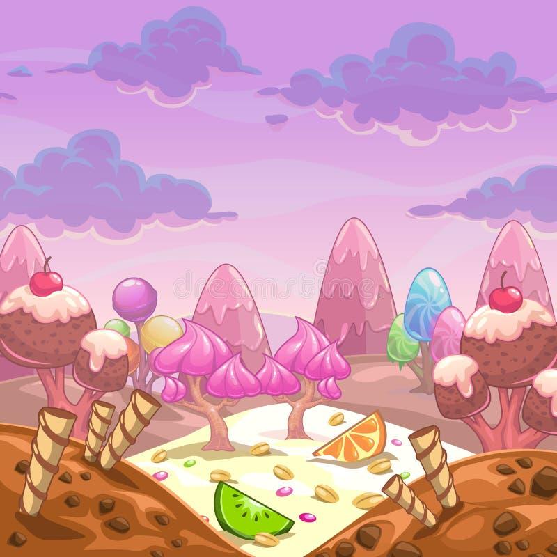 Paisagem do doce do vetor dos desenhos animados ilustração stock