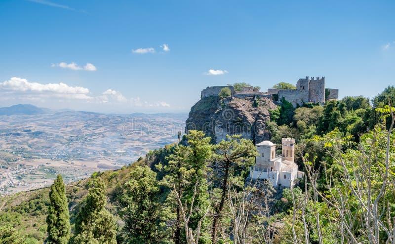 Paisagem do Erice, Sicília, Itália fotos de stock royalty free