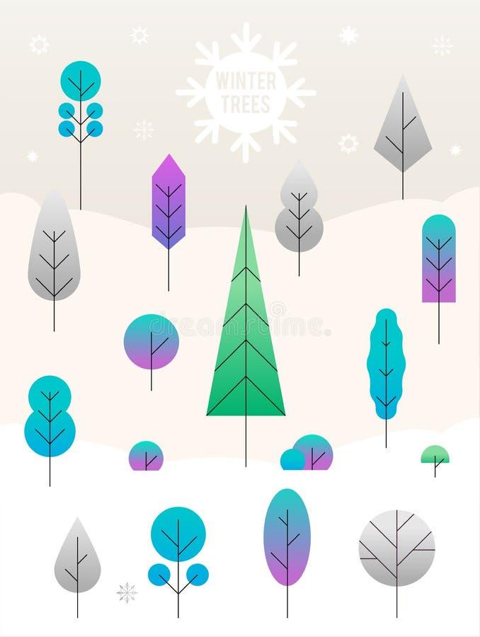 Paisagem do Feliz Natal projeto liso da ilustra??o do conceito do vetor ?rvores do inverno ilustração do vetor