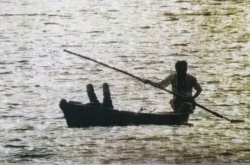 paisagem do homem do barco imagem de stock royalty free