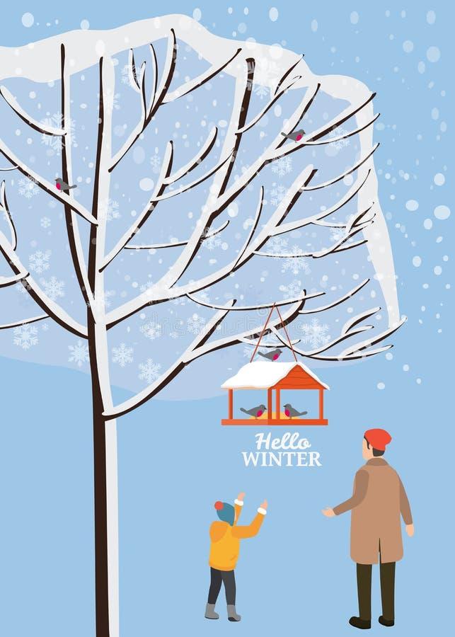 Paisagem do inverno, alimentador do pássaro com alimentação, pássaros, paizinho com suporte do filho perto de uma árvore coberta  ilustração royalty free