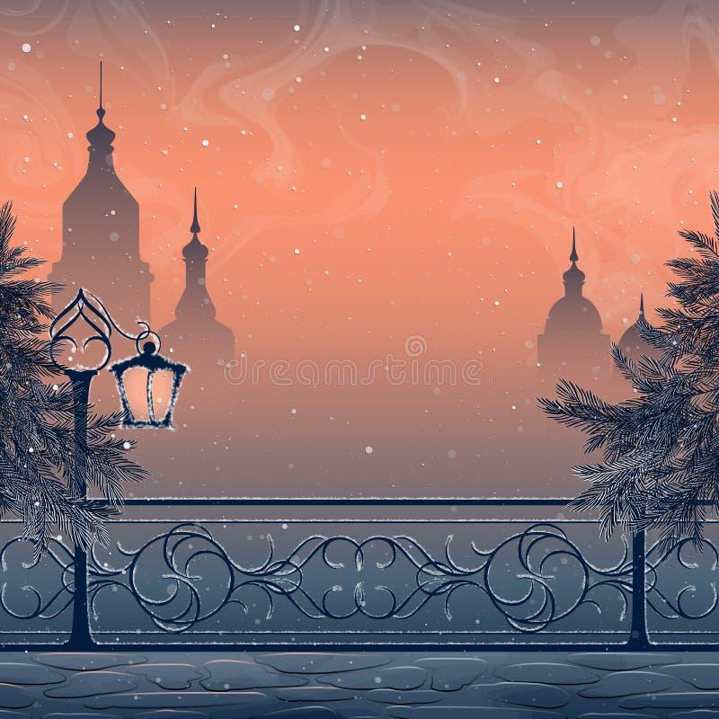 Paisagem do inverno com arquitetura da cidade ilustração royalty free