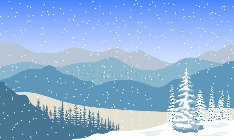 Paisagem do inverno com as silhuetas das montanhas, da queda de neve e da floresta no nascer do sol ilustração do vetor
