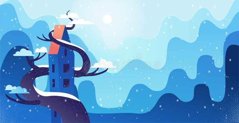 Paisagem do inverno com a casa alta entrelaçada com grande árvore, em um estilo moderno dos desenhos animados com texturas e incl ilustração do vetor
