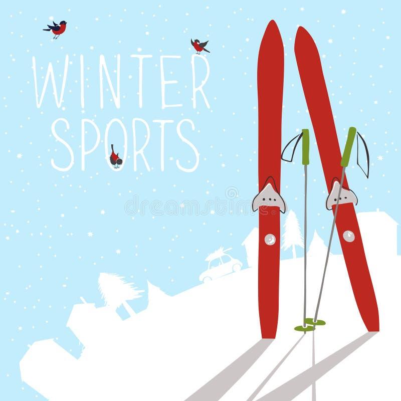 Paisagem do inverno com esqui e silhueta da vila ilustração do vetor