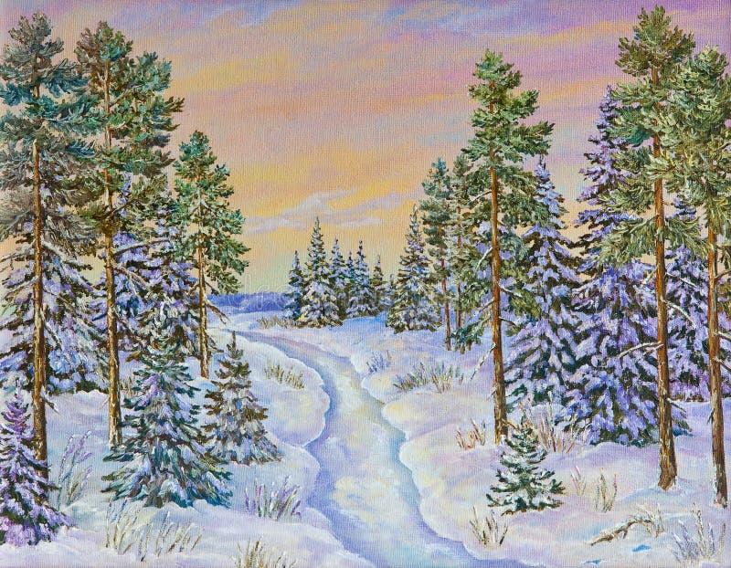 Paisagem do inverno com a estrada e os pinheiros na neve em uma lona Pintura a óleo original ilustração royalty free