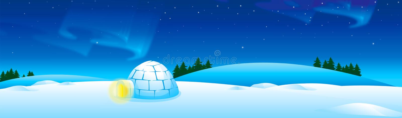 Paisagem do inverno com iglu muito céu noturno da neve e da Aurora ilustração royalty free