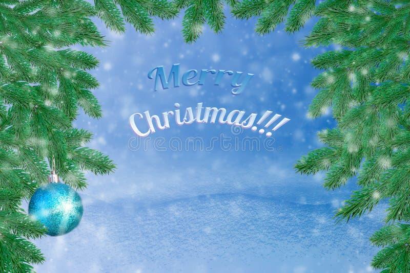 Paisagem do inverno com neve Fundo do Natal com ramo do abeto e bola do Natal Feliz Natal e ano novo feliz Ca de cumprimento foto de stock royalty free