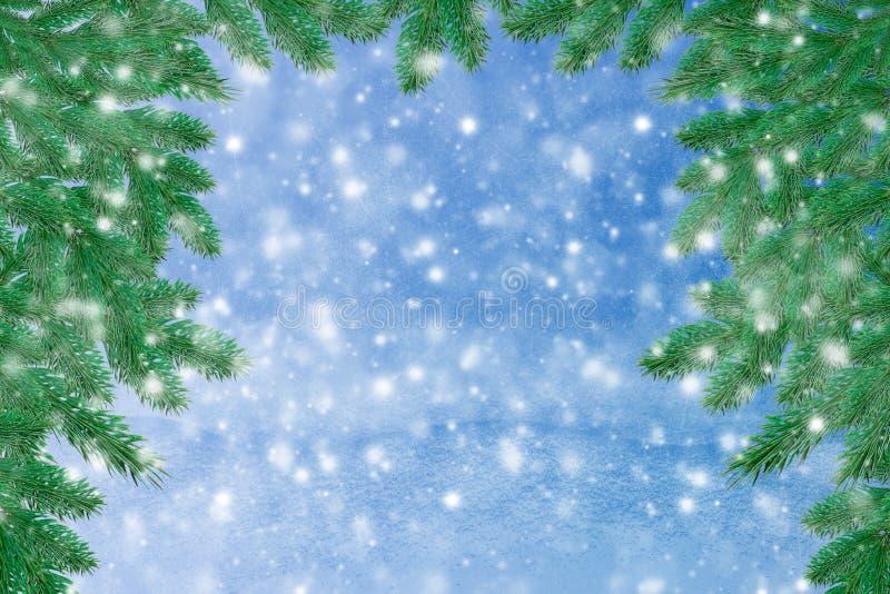 Paisagem do inverno com neve Fundo do Natal com ramo do abeto e bola do Natal Feliz Natal e ano novo feliz Ca de cumprimento fotografia de stock royalty free