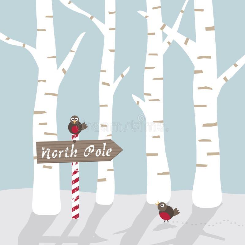 Paisagem do inverno com pássaros e sinal ilustração do vetor
