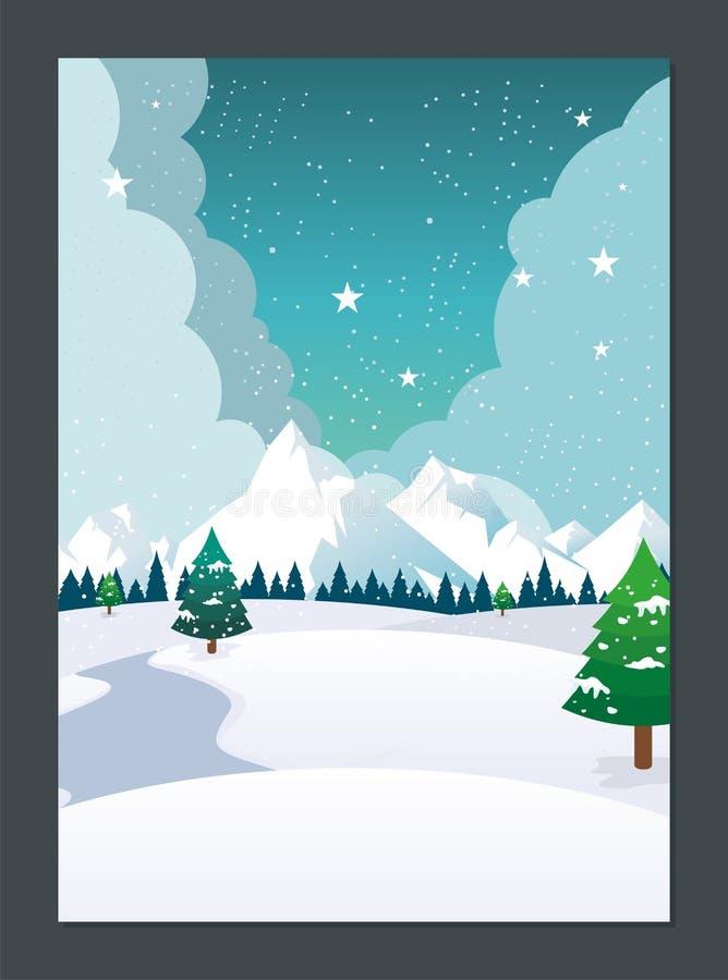 Paisagem do inverno com projeto bonito dos desenhos animados ilustração stock