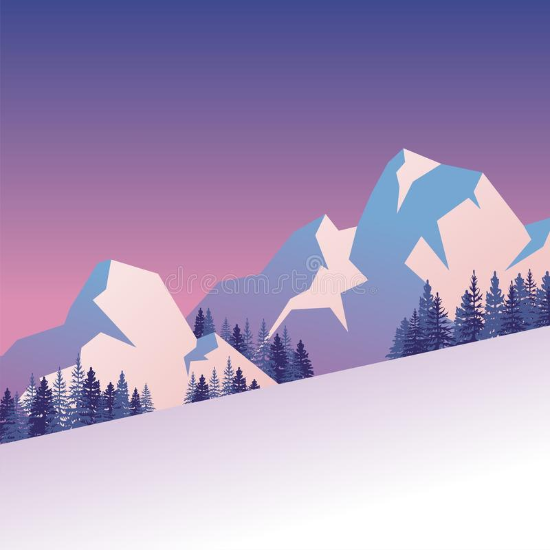 Paisagem do inverno com projeto bonito dos desenhos animados do cenário ilustração royalty free
