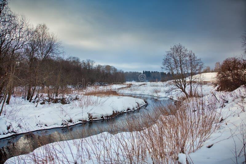 Paisagem do inverno com rio fotografia de stock royalty free