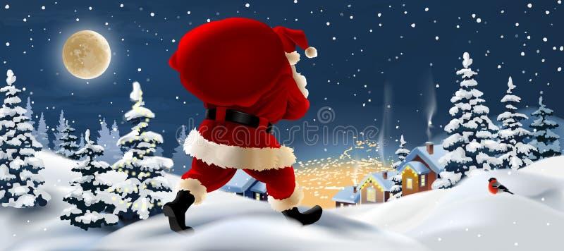 paisagem do inverno com Santa Claus no primeiro plano ilustração royalty free