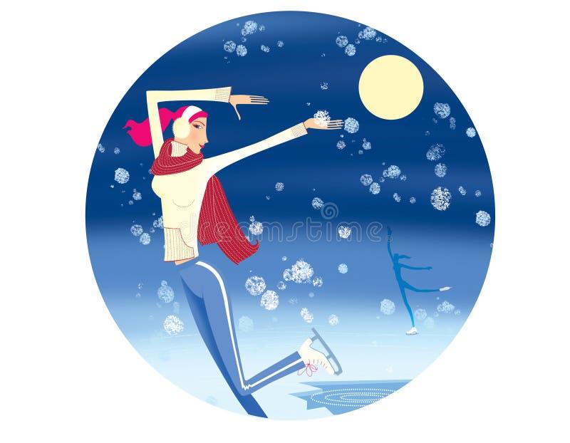 Paisagem do inverno com um gelo-furo e a lua Uma menina no amarelo em uma camiseta e em um lenço vermelho patina sob a neve de q ilustração royalty free