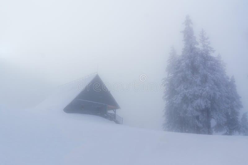 Paisagem do inverno com uma casa em um dia nebuloso imagem de stock