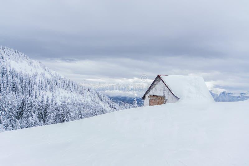 Paisagem do inverno com uma casa em um dia nebuloso fotografia de stock