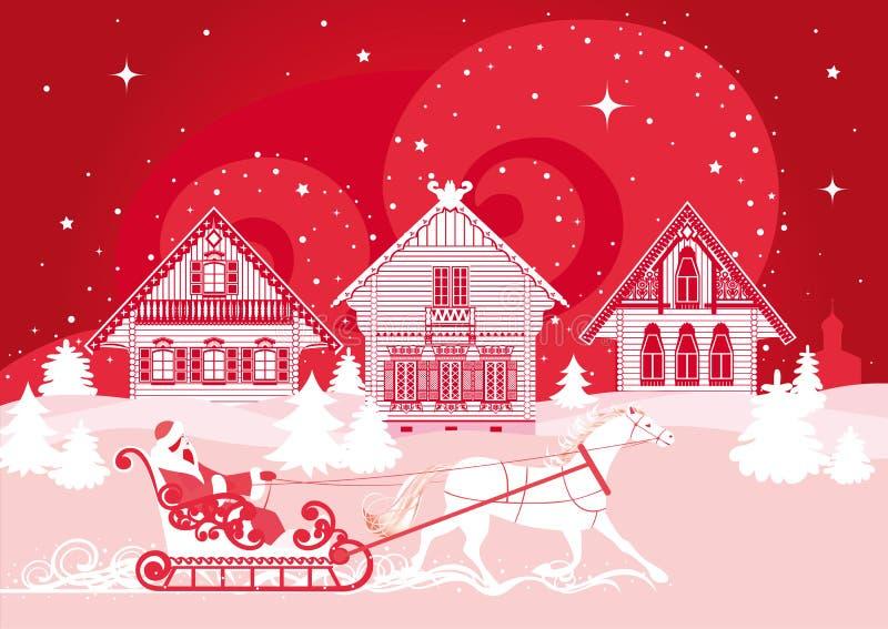 Paisagem do inverno com vila, um cavalo e uma equitação da mulher ilustração royalty free