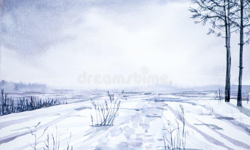 Paisagem do inverno da floresta e do campo nevado Ilustração tirada mão da aguarela ilustração royalty free