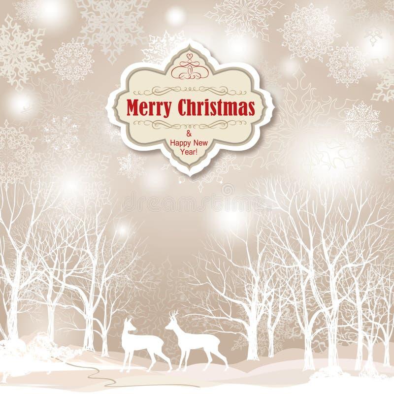 Paisagem do inverno da neve com dois cervos Fundo do Feliz Natal ilustração do vetor