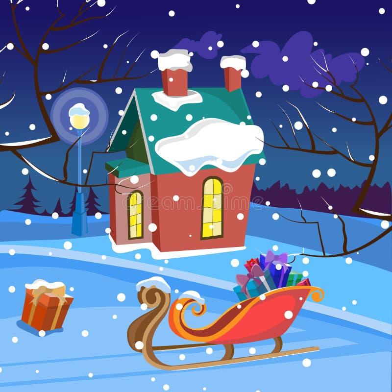 Paisagem do inverno da noite ilustração do vetor