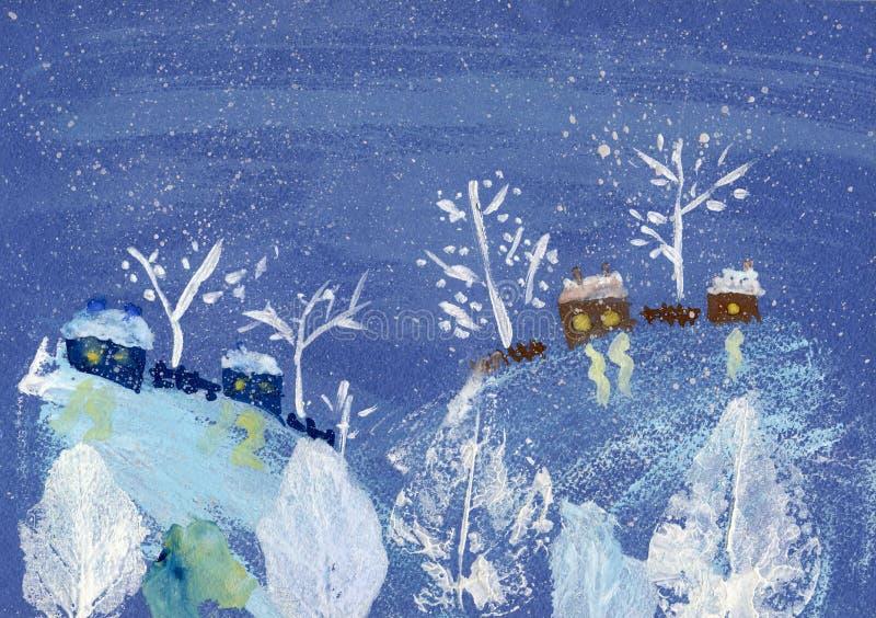 Paisagem do inverno da pintura do guache ilustração stock