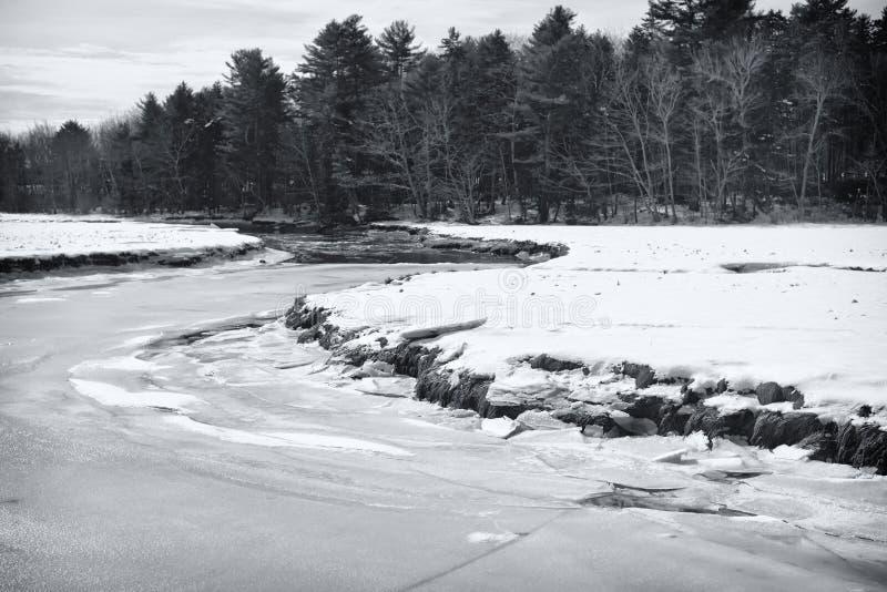 Paisagem do inverno da reserva natural de Rachel Carson National fotos de stock