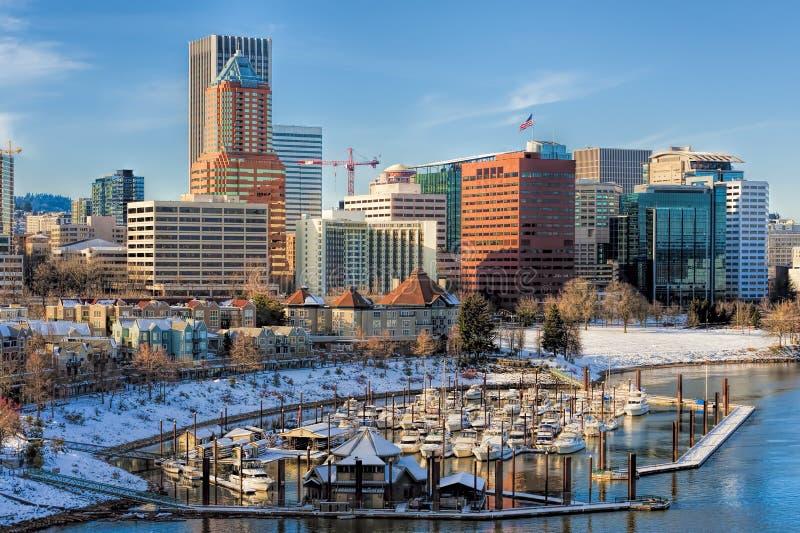 Paisagem do inverno de Portland Oregon vista da ponte de Marquam fotos de stock royalty free