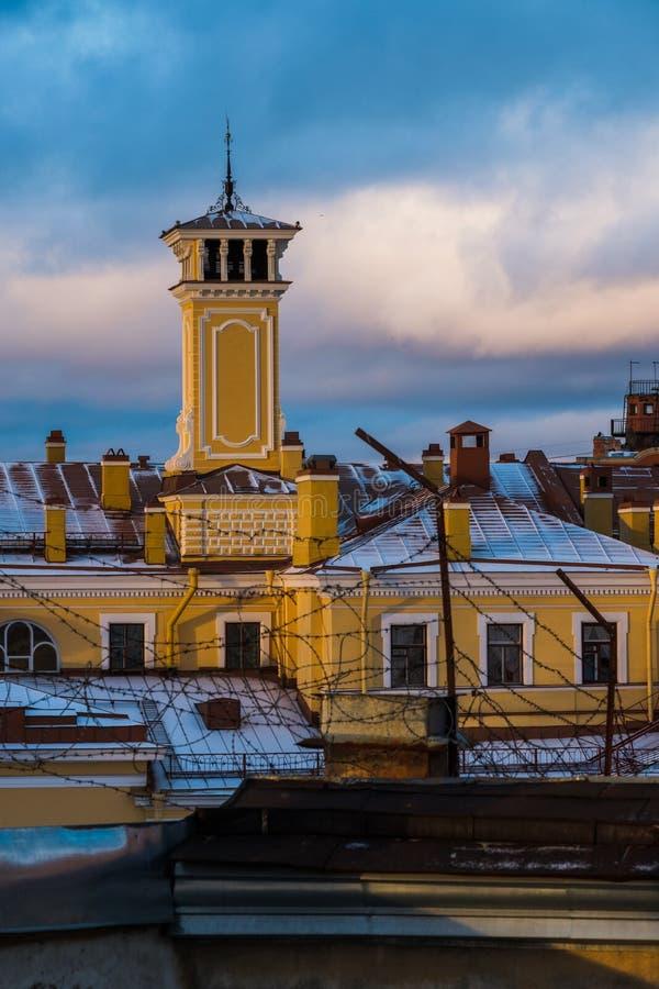 Paisagem do inverno de Sankt-Peterburg fotos de stock