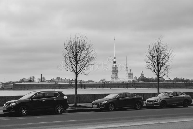 Paisagem do inverno de Sankt-Peterburg imagem de stock royalty free