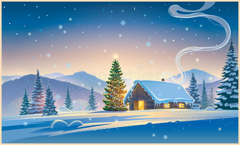 Paisagem do inverno do Natal ilustração stock