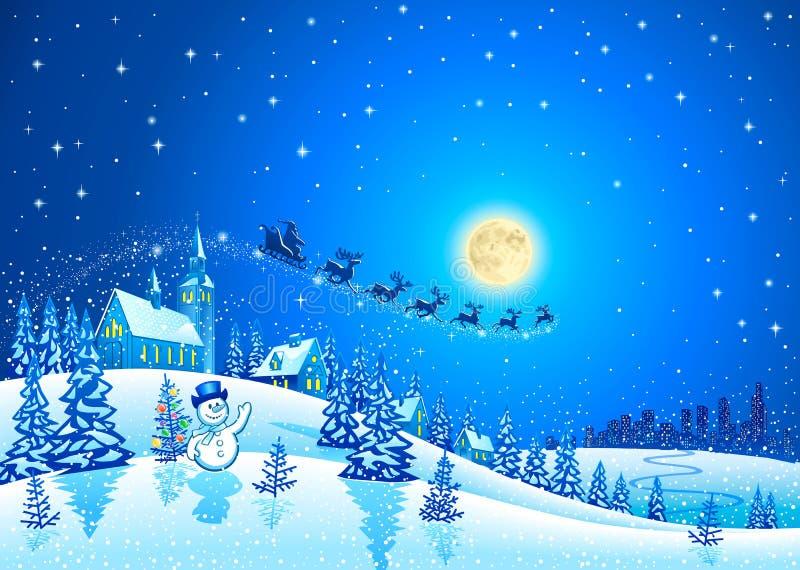 Paisagem do inverno do Natal com Santa Sleigh ilustração stock
