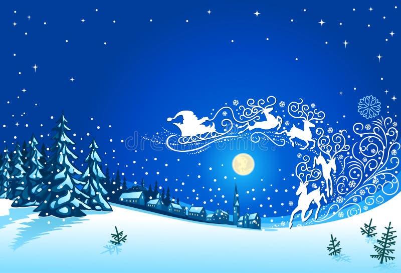 Paisagem do inverno do Natal com Santa Sleigh Ornament ilustração do vetor