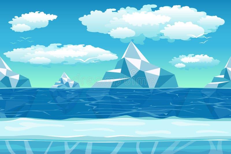 Paisagem do inverno dos desenhos animados com gelo e neve para ilustração do vetor